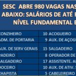 (Sesc) abre 980 para processo seletivo inscrições abertas