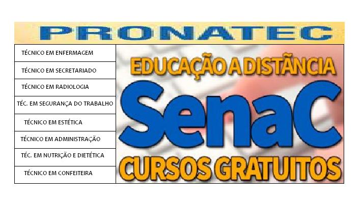 CURSOS TÉCNICOS PRONATEC SENAC EAD: Cursos gratuitos, Vagas e Inscrições